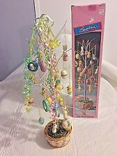 """Vintage 18"""" Tall Tabletop Easter Tree W/23 Hand Painted Ornaments Cute EUC"""