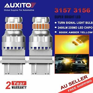 AUXITO 2X 3157 3156 LED Amber Turn Signal DRL Side Marker Light Bulbs 2400LM AU
