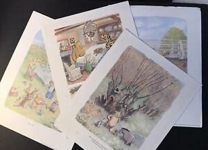 "Vtg 1957 ""WORLD of POOH"" 4 Framable 11 by 14 inch Prints (Image areas 8 by 11)"