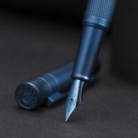 HongDian Dark Blue/Black Forest Metal Fountain Pen EF/F/Bent Nib with Converter