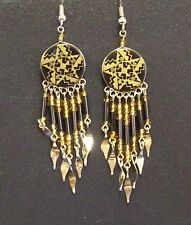 Earrings in Southwest Design Handcrafted Beaded Round Dangles in Black and Gold