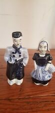 Vintage Delft Dutch Boy and Girl Blue and White Salt & Pepper Shakers #2