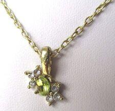 pendentif collier bijou rétro couleur or cristaux diamant  citrine canari  453