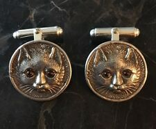 VINCENT SIMONE STERLING 925 SILVER CUFFLINKS Cat Garnet Eyes
