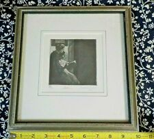 Interesting Vintage Portrait of Woman/Sisters Signed Art Drawing Etching Framed