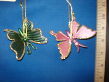 Butterfly Ornaments Pink and Green Glass Set of 2 85836 217