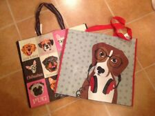 Lot Of 2 Dog Theme  Shopping Bag Reusable Eco Travel Tote NEW