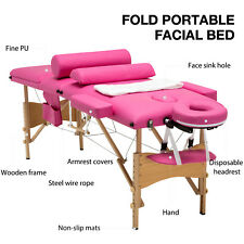 "3 Fold Portable 84""L Massage Table Facial Spa Bed 2 Pillows+Cradle+Sheet& Hanger"