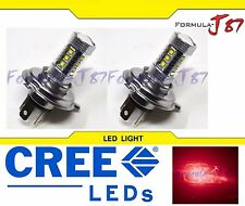 CREE LED 80W 9003 HB2 H4 RED TWO BULB HEAD LIGHT JDM SHOW LAMP REPLACE OFF ROAD