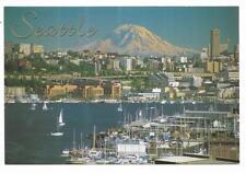 Washington Chrome Postcard Seattle Lake Union with Mt Rainier Distance