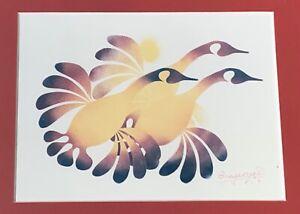 Vintage 80s Simon Brascoupé Canada Geese Stencil Print Modern Art Wall Hanging