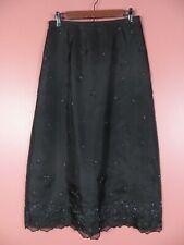 SK14976- ANN TAYLOR Women's Silk Maxi Flare Skirt Embroidered Beaded Black 10