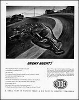 1943 WW2 Highway enemy agents Tobe corp Massachusetts vintage art Print Ad adL48