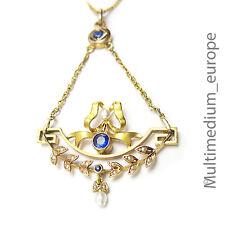 750 18ct Gold Schleife Anhänger Saphir Safir Perle loop pendant sapphire pearl