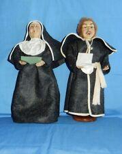 "Santa's Workbench Christmas Carolers Nun & Priest Father 12"" Figure Wood Base"