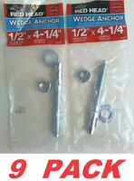 """Red Head 50096 Wedge Anchors Hex Nut Expansion 1/2 x 4-1/4"""" Heavy Duty Concrete"""