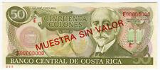 """COSTA RICA 1991 ISSUE 50 COLONES """"SPECIMEN"""" SCARCE GEM-UNC.PICK#257s."""