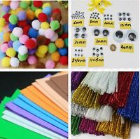 Kid school Pipe Cleaner Sticks Pompoms Eyes Craft papers Chenille Decoration