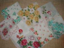 8 Hankies Featuring Roses Dainty & Bold Vintage Handkerchief Lot