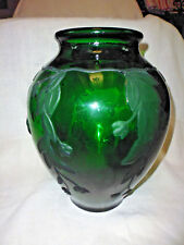 Grand vase ancien Art déco verre moulé vert décor fleur