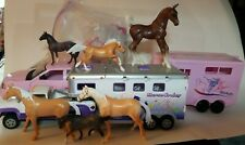 Huge Lot Plastic Horse Truck Trailers Breyer+Extras Equine Ranch Figure Pony Toy