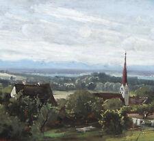 Hahn Josef 1839-1906 München Ansicht Unteralting Kirche St. Mauritius Pilsensee