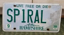 """New Hampshire 2000 Vanity License Plate """"SPIRAL"""""""