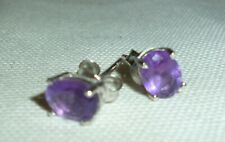 Pair of Large Amethyst and Silver Ear Studs