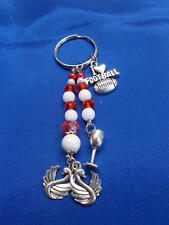 SYDNEY FOOTBALL TEAM COLOR CRYSTAL KEY RING - 9 1/2 cm RED AND WHITE - SWAN # 24