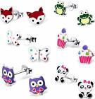 Sterling Silver 6 Pairs Lot owl panda Frog Fox Cupcake Kids Stud Earring 2764