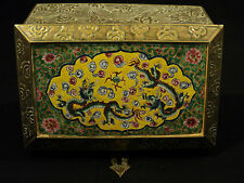ANTIQUE CHINESE BRASS and ENAMELED BOX with DRAGONS & FLAMING PEARL DECORATION