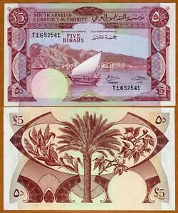 Yemen Democratic Republic (South Arabia), 5 Dinars, (1965), P-4 (4b), UNC