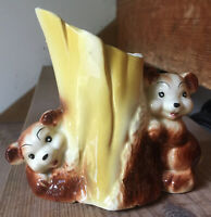 VTG MCM 1950s CUTE BEAR CUBS SMILING PLANTER Hand Painted Brown Yellow ~ AS IS