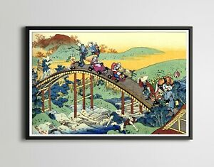 Mario Kart on The Arched Bridge - Original POSTER! (up to 24x36) - Hokusai - Art