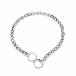 Stainless Steel Dog Choke Collar Metal Chain Slip Pet Training Walking Choker UK