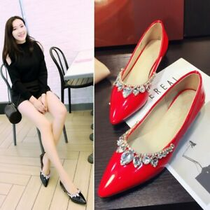 Womens Pointy Toe Rhinestone Flat Low Patent Leather Shoes Fashion Pumps Loafers