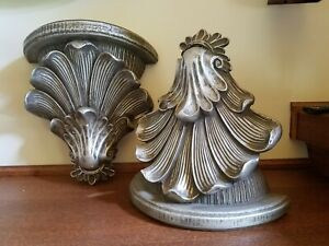 2 Vintage Resin Wall Shelves Grey Silver Antiqued Hollywood Regency Gothic