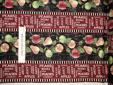 Apple Pear Fruit Stripe Cotton Fabric Wilmington From The Market  #82416 Yard