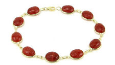 14K Yellow Gold Scarab Bracelet With Carnelian Gemstones 7.25 Inches