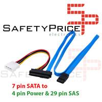 SFF-8482 7 Pin SATA Serial a SAS 29 Pines & cable alimentacion 4 pin molex 70 cm