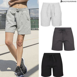 Build Your Brand Womens Terry Shorts BY066-Ladies Casual Summer Shorts/Hot Pants