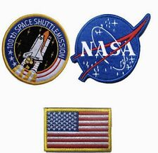 NASA 100th Space Shuttle Mission US Flag Tactical Morale Patches Hook/Loop (3)