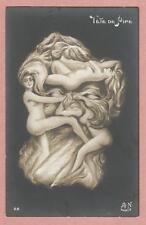 "Postcard RPPC Metamorphic ""Tete de Pipe"" - Man formed by 3 nude women"