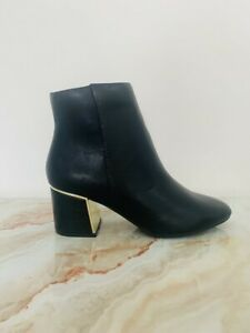 New Women's River Island Ankle Chelsea Boots With Gold Trim UK 6 BLK RRP £42.00