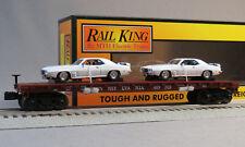 MTH RAIL KING PRR FLATCAR 69' PONTIAC FIREBIRDS O GAUGE train car 30-76724 NEW
