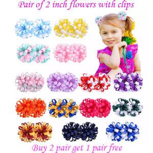 "2"" 2 Inch Clip Girls Corker Korker Bow School Baby lot Hair flower kids Pair"