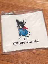 """NEW Macy's Small Cosmetic Bag Pouch Boston Terrier """"You Are Beautiful"""" Canvas"""