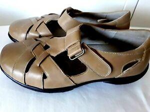 HOMY PED Ladies Leather SHOE SANDAL Sz 38  Flat Comfort Jaycee Tan Lattice VGC