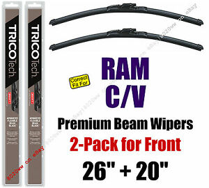 Wipers 2-Pack Premium Wiper Beam Blades - fit 2012-2015 Ram C/V - 19260/200