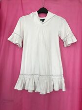 Used Girls White Towelling Velvety Beach Dress Gap Age 6-7 Years Hooded